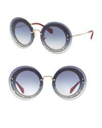 Miu Miu - Blue 64mm Round Overlay Sunglasses - Lyst