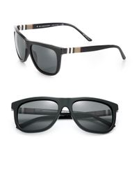 Burberry - Black House-Checked Square Sunglasses for Men - Lyst