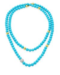 Gurhan - Blue Amulet Hue Diamond, Turquoise & 22-24k Yellow Gold Strand Necklace/50 - Lyst