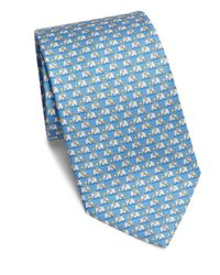 Ferragamo - Blue Elephant Print Silk Tie for Men - Lyst