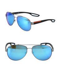a20d6877779e Prada Sport 59mm Injected Pilot Sunglasses in Blue for Men - Lyst