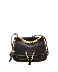 Miu Miu - Black Dahlia Leather Saddle Bag - Lyst