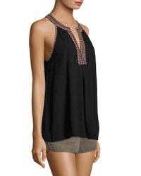 Joie - Black Soft Rin Embroidered Cotton Top - Lyst