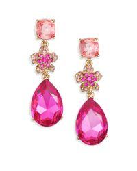 Oscar de la Renta - Pink Flower Pave Crystal Drop Earrings - Lyst