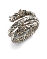 John Hardy - Metallic Naga 18k Yellow Gold & Sterling Silver Dragon Head Double Coil Bracelet - Lyst