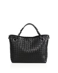 Bottega Veneta - Black Small Intrecciato Leather Tote - Lyst
