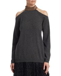 Brunello Cucinelli - Multicolor Cashmere Cold Shoulder Sweater - Lyst