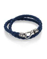 Tod's - Blue Leather Double Wrap Bracelet - Lyst