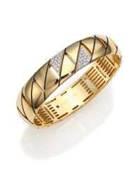 Roberto Coin - Metallic Appassionata Diamond & 18k Yellow Gold Bangle Bracelet - Lyst
