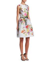 Monique Lhuillier - Multicolor Sleeveless A-line Floral-print Polka-dot Mikado Cocktail Dress W/ Belt - Lyst