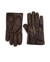 Portolano - Brown Cashmere-lined Leather Gloves - Lyst