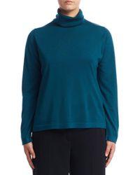 Marina Rinaldi - Blue Turtleneck Wool Sweater - Lyst