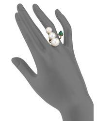 Delfina Delettrez - Metallic Handroid 9mm-11mm White Pearl, Green Topaz & 18k Yellow Gold Trillion Wrap Ring - Lyst