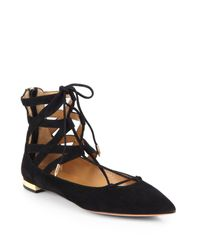 Aquazzura - Black Belgravia Lattice Suede Flat - Lyst