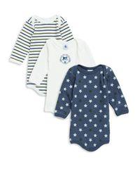 Petit Bateau - Blue Baby Boy's Three-piece Cotton Bodysuit Set - Lyst