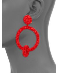 Oscar de la Renta - Red Beaded Double Hoop Earrings - Lyst