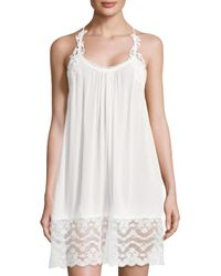 In Bloom | White Kiss The Sky Lace Lace Trim Chemise | Lyst