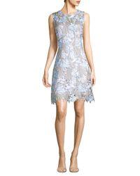 Elie Tahari - Blue Tallulah Floral Lace Dress - Lyst