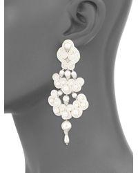 Tory Burch - Metallic Beaded Chandelier Earrings - Lyst