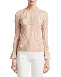 Jonathan Simkhai - Natural Perforated Knit Crewneck Sweater - Lyst