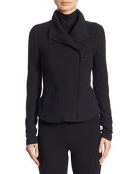 Akris Punto - Black Herringbone Moto Jacket - Lyst