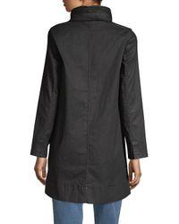 Eileen Fisher - Black Hidden Hood A-line Coat - Lyst