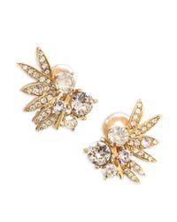 Oscar de la Renta - Metallic Tropical Palm Clip-on Earrings - Lyst
