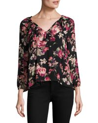 Joie - Black Nadege Floral Silk Blouse - Lyst