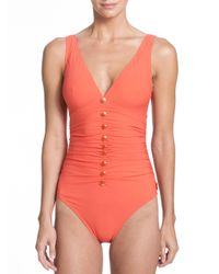 Shan - Orange One-piece Serena V-neck Swimsuit - Lyst