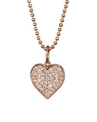 Sydney Evan - Metallic 14k Rose Gold & Diamond Heart Pendant Necklace - Lyst