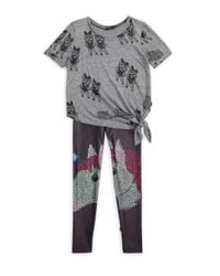 Terez - Gray Girl's Squad Tie Front Burnout Tee - Lyst