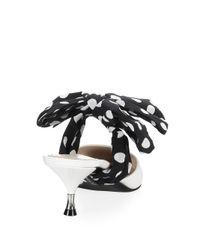 Prada - White Polka Dot Bow Leather Mules - Lyst