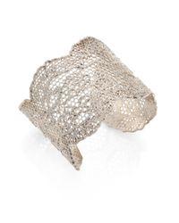 Aurelie Bidermann - Metallic Vintage Lace Cuff Bracelet - Lyst