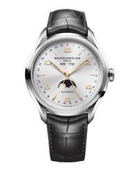 Baume & Mercier - Metallic Clifton 10055 Moonphase Stainless Steel & Alligator Strap Watch for Men - Lyst