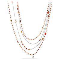 David Yurman - Metallic Bead And Chain Necklace With Carnelian, Garnet And 18k Gold - Lyst