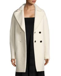 Carven - White Double-breasted Cocoon Coat - Lyst