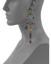 Lanvin - Multicolor Crystal Chandelier Clip-on Earrings - Lyst