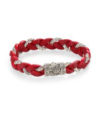 John Hardy - Red Leather And Silver Braided Bracelet for Men - Lyst