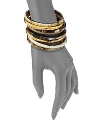 Nest   Metallic Hammered Horn Bangle Bracelet Set   Lyst