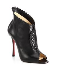 Christian Louboutin - Black Deguise 100 Scalloped Leather Peep-toe Booties - Lyst