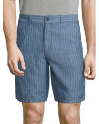 John Varvatos - Blue Triple Needle Linen Shorts for Men - Lyst