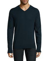Michael Kors - Blue Merino Wool V-neck Sweater for Men - Lyst