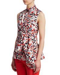 Akris Punto - Red Letter-print Sleeveless Wrap Blouse - Lyst