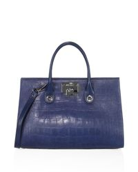 Jimmy Choo - Blue Riley Croc-embossed Satin Leather Tote - Lyst