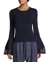 MILLY - Blue Cutout Flare Sleeve Pullover - Lyst