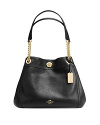 COACH | Black Edie Turnlock Leather Shoulder Bag | Lyst