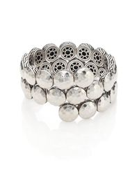 John Hardy - Metallic Dot Sterling Silver Disc Double Coil Bracelet - Lyst