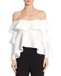 Nicholas - White Crepe Off-the-shoulder Frill Top - Lyst