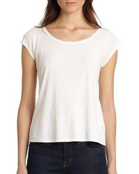 Eileen Fisher - White Cap-sleeve Tee - Lyst