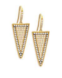 Freida Rothman - Metallic Pave Slice Gold Plated Drop Earrings - Lyst